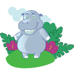 Cartoon hippo mascot on isolated background