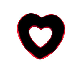 Artificial Red- black  Heart On A white Background