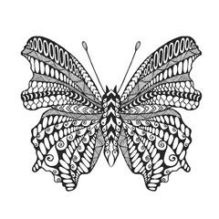 Zentangle stylized butterfly.