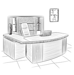 Hand drawn workplace