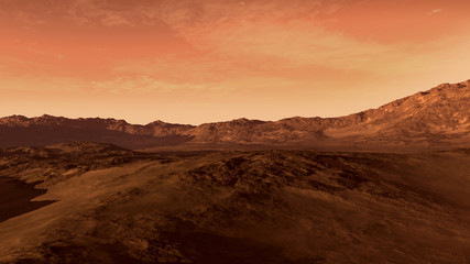 Fotobehang Koraal Mars like red planet, with arid landscape, rocky hills and mountains, for space exploration and science fiction backgrounds.