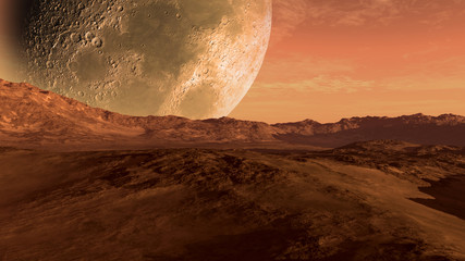 Mars like red planet with arid landscape, rocky hills and mountains, and a giant moon at the horizon, for space exploration and science fiction backgrounds