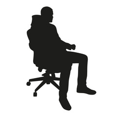 Business man sitting in chair. Vector silhouette
