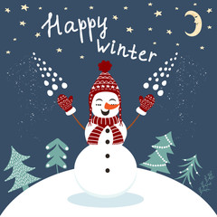 Happy winter card with enjoying snowman in vector