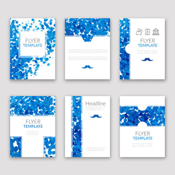 Set of brochures in Dotted Blue style. Beautiful frames and backgrounds. Company Style for Brandbook and Guideline Identity