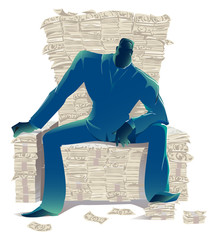 Dark silhouette of a businessman in a suit sitting on a lot of money in the form of a throne, a symbol of the global economic crisis and the development of business, vector