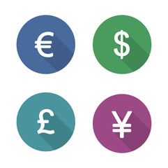 Money symbols flat design icons set
