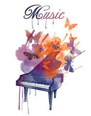 Watercolor vector illustration of Piano