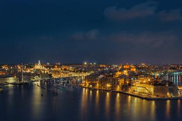 Valletta skyline at night, Malta