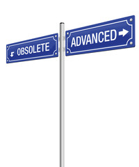 ADVANCED and OBSOLETE, written on two signposts. Isolated vector illustration on white background.
