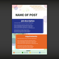 Job opportunity template with bokeh effect