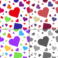 Set of seaamless patterns with hearts
