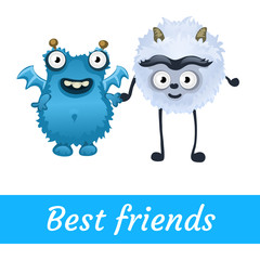 Two best friends, white and blue mutant toon