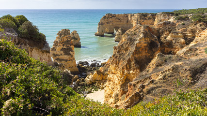 Elevated view of beach, Lagos, Faro, Portugal