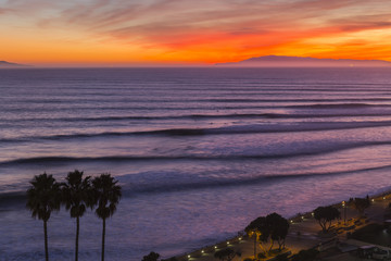 Ventura California Sunset Surf Sets