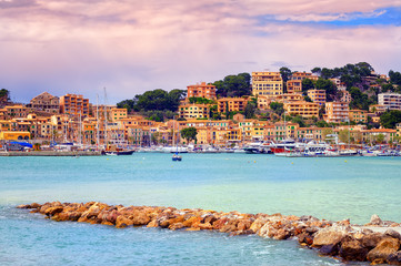 Port town Soller on sunset, Mallorca, Spain