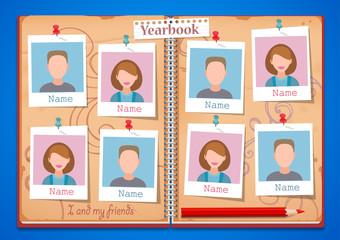 School album yearbook and open book
