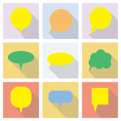 Big vector speech bubbles set, isolated and colorful.