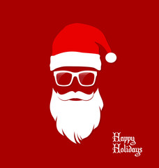 Hipster Santa Claus, Party, Greeting Card, Banner, Sticker, Hipster Style. Santa Geek.