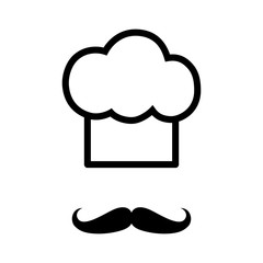 Chef with moustache (mustache) line art icon for apps and websites