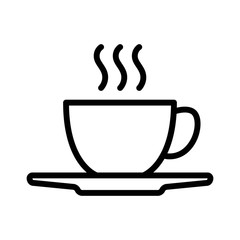Hot coffee cup with plate line art icon for apps and websites