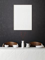 mock up poster in hipster dining room, 3d render
