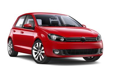 Red hatchback car