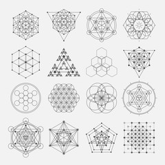 Sacred geometry vector design elements. Alchemy, religion, philosophy, spirituality, hipster symbols and elements
