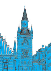 Old Town Hall, Munich, Bavaria, Germany, European city, vector sketch hand drawn collection.