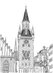 Old Town Hall, Munich, Bavaria, Germany, European city, vector sketch hand drawn collection