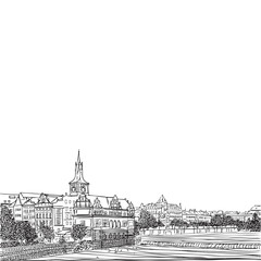 Prague, Czech Republic. View from Karlov bridge. Old Town Bridge Tower in European city, black & white vector sketch hand drawn collection.