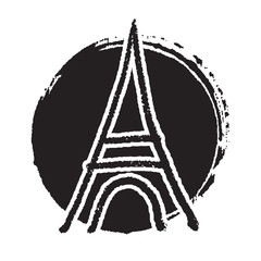 Freehand sketch illustration of pray and Eiffel tower peace sign