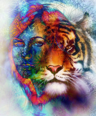painting of a bright mighty tiger head on ornamental background and mystic woman face, computer collage. Blue, orange, green, red, black and white color.
