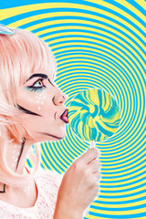 Girl with makeup in the style of pop art and lollipop. Color bac