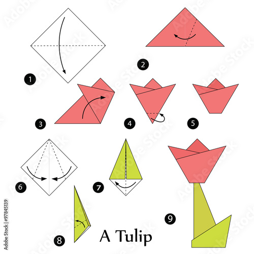 Step by step instructions how to make origami a tulip stock image step by step instructions how to make origami a tulip mightylinksfo