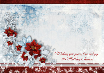 Christmas greeting card with the wishes and poinsettia.