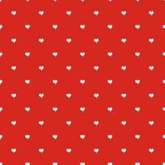 Wall Mural - Seamless polka dot red pattern with hearts