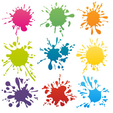 Colorful ink spots set vector