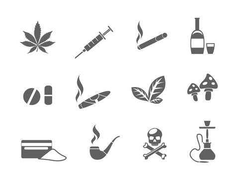 Drug icons set