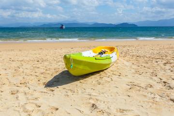 Canoe on the beach at sunshine day, Phayam Island, Ranong Province, Thailand