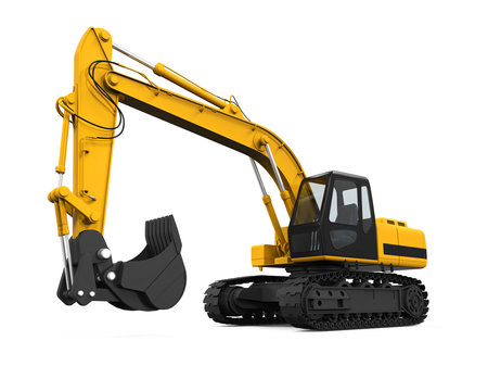 Yellow Excavator Isolated