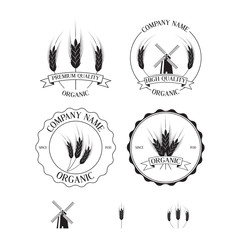 Set of labels, badges and design elements with rye