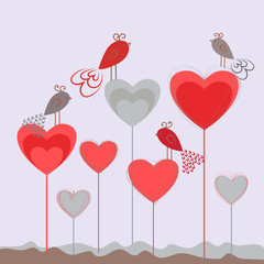 Love background with hearts and cute birds. Romantic card template. Valentines day.