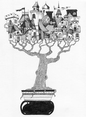 simple black on white drawing - BONSAI - city castle in a tree