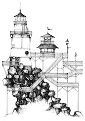 simple black on white drawing - lighthouse on rocks with wooden balconies