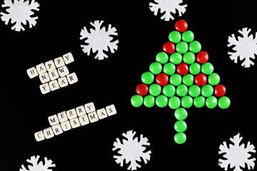 christmas tree shape candy background