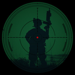 Sniper scope. Night vision.illustration