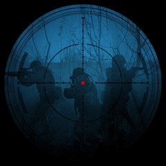 Sniper scope. Night vision.illustration.night mission/operation hostage rescue.view through the night vision scope