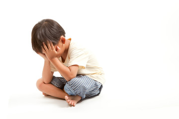 Angry sad child boy punishment ,solated on white background