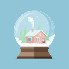 Christmas snow globe with house in the forest inside. Flat vecto